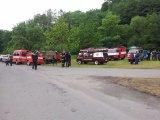Pohled na hasičská auta